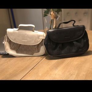 Oroton x2 small colour block pouch/make up bags.